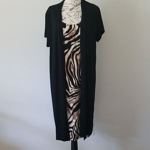 Enfocus Women Dress Black/Printed Sz 18W